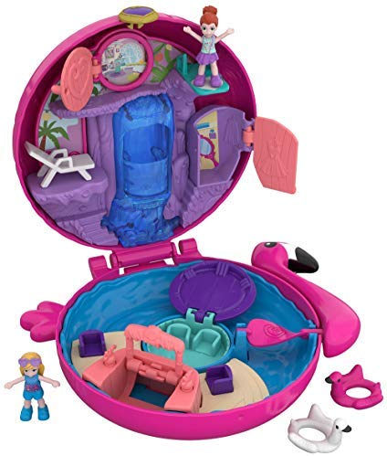 , Polly Pocket Coffret Univers La Piscine du Flamant Rose avec 2 Mini-Figurines et Accessoires, Autocollants et 5 Surprises Cachées, Jouet Enfant, édition 2018, FRY38
