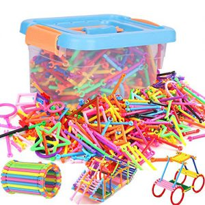 , ITODA 300pcs Blocs de Construction en PP Bâton de Blocs Construction colorée 3D Jeux de Construction DIY éducatif et créatif avec différentes Formes Durable et Sécurité pour Enfants Plus de 3ans